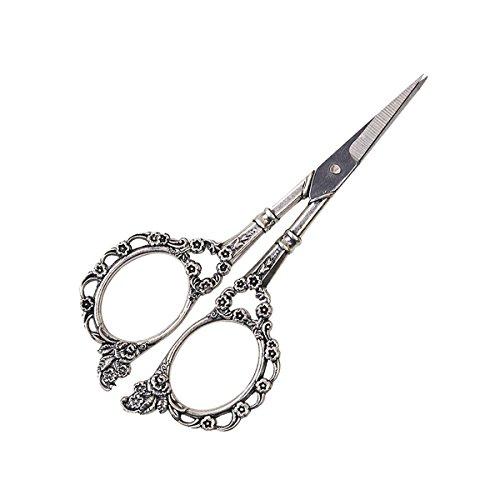 Tijeras con diseño de flores D & D Novel, de acero inoxidable, perfectas para punto de cruz, bordado, costura y lazos plata