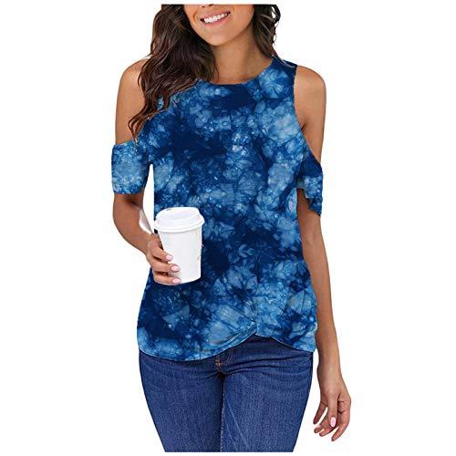YCZCO Blusa de verano de manga corta para mujer, cuello redondo, holgada, holgada, con estampado informal Camiseta Mujer 01 M