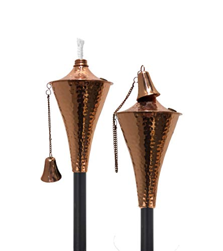 Oahu Outdoor Tiki Style Torch - Fashionable Garden Oil Lamp Includes Matching Snuffer, Fiberglass Wick and 54' Metal Pole - Quick, Easy Set Up as Pathway Lights - Set of 2 (Hammered Copper)