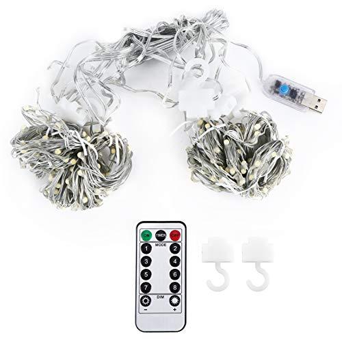 Wacent 3x3 m 300LED Cadena de luz de Cortina, lámpara de Control Remoto USB, Accesorios de lámpara de decoración de Fiesta de Boda de Navidad