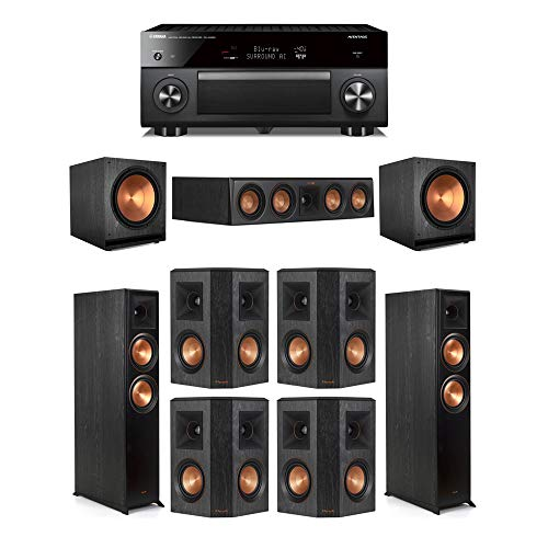 Best Buy! Klipsch7.2 Ebony System - 2 RP-6000F,1 RP-404C,4 RP-402S,2 SPL-150,1 RX-A3080 Receiver