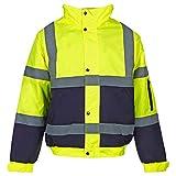 Jaqueta de trabajo MyShoeStore®, de alta visibilidad, con capucha, talla S a 4XL Yellow Navy / 2 Tone X-Large