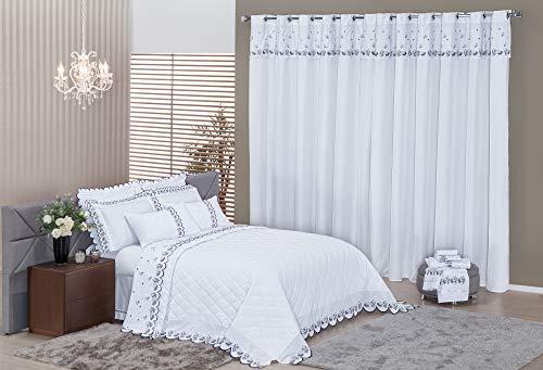 Suite Prada Casal 09 Peças Mellindre Branco/Cinza Queen Tecido. Percal 200 Fios 100% Algodão