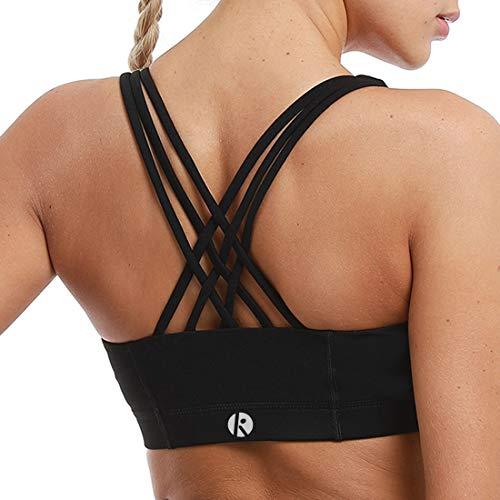 coastal rose Women's Zip Front Sports Bra Medium Impact Workout Running Crossback Yoga Tops US L Black