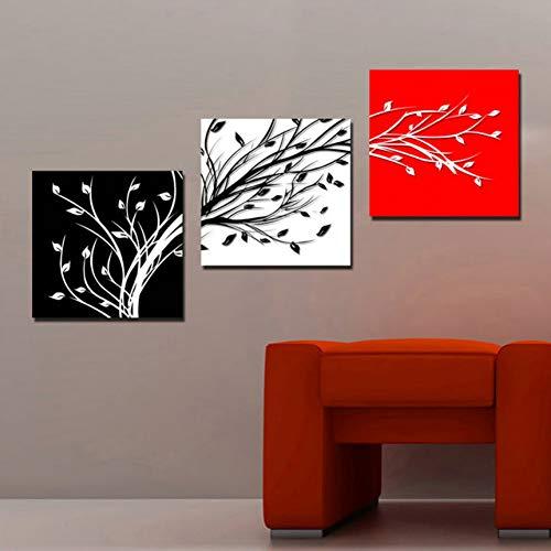 XKA Tríptico 3 Panel Impreso Resumen Naturaleza Muerta Negro Blanco Rojo �rbol Pintura Al Óleo Cuadros Decoración para El Hogar Arte De La Lona Sin Marco