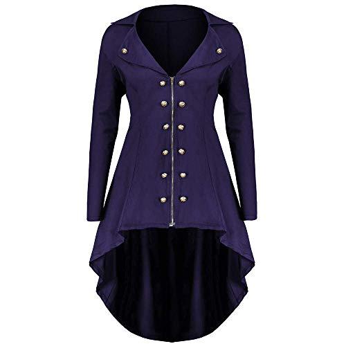 Adelina Mantel Frack jas Gothic Gehrock Uniform kostuum Party Outwear carnaval damesfrak Fashionable Completi vrouwen over de maten lang met reverskraag ritssluiting jas asymmetrisch Coat