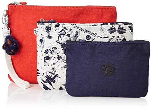 Kipling Damen IAKA L WRISTLET Münzbörse/Kosmetiktäschchen, 3er pack, Mehrfarbig (Active Mix), 28x21.5x1 cm