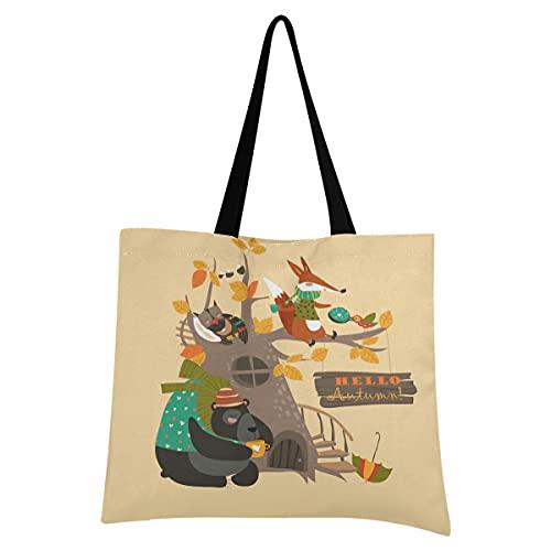 Bebé Animal Del Bosque Zorro Bolsa de Mano de Compra Reutilizable Portátil Bolsa al Hombro ecológica para viajes Mujeres Niñas