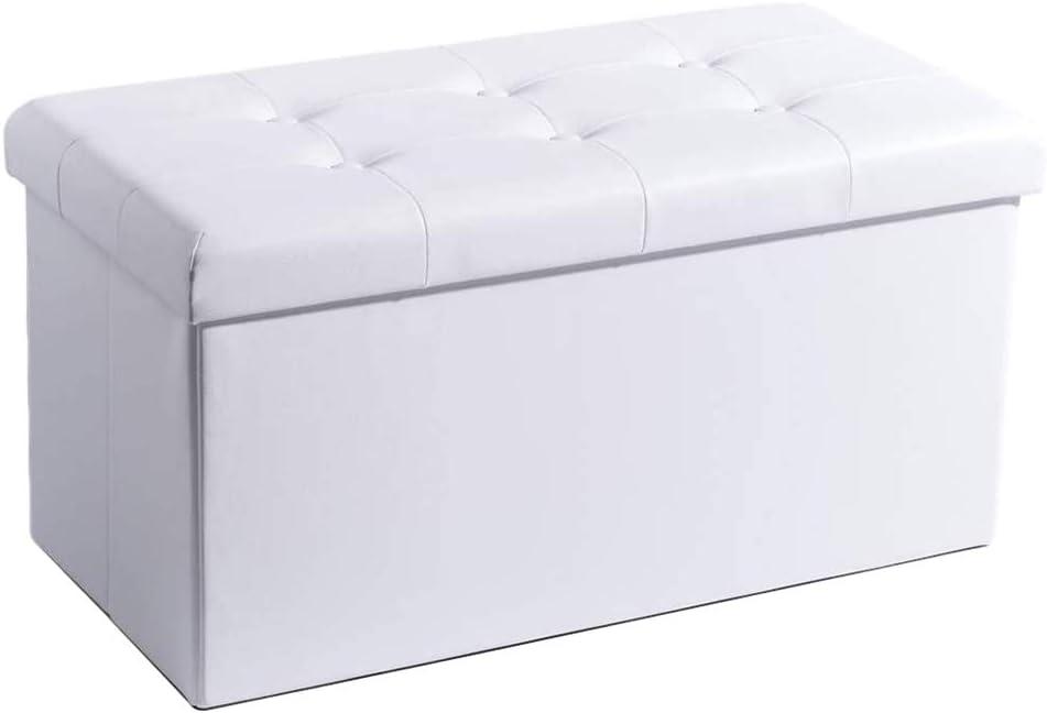 Theo/&Cleo Leder Sitzhocker mit Stauraum 76 x 38 x 38 cm Faltbar Fu/ßbank Truhen Aufbewahrungsbox Dunkelgrau