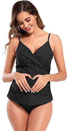 SHEKINI Damen Schwangerschafts Tankini Set Retro Crossover Wrap Raffung Zweiteiliger Bikini V Ausschnitt Bügellos 3XL (L, Schwarz)
