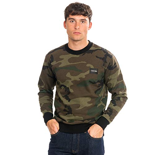 Calvin Klein All Over Camouflage Mens Sweatshirt Pine XL