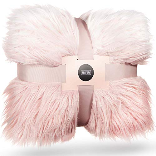 Beautify Kuscheldecke aus Mongolischem Fell-Imitat Ombre Rosa Pink Decke – Luxuriös, weich, Kunstfell – 160 x 130 cm – Stylisches Accessoire für Sofas, Schlafzimmer & Wohnzimmer