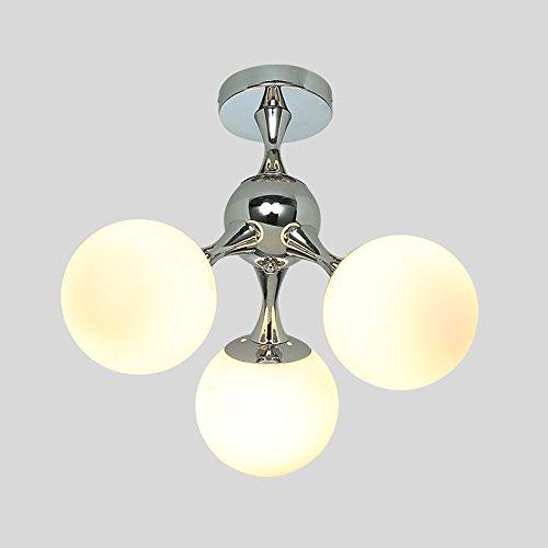 Moderne minimalistische metalen plafondlamp, modern 3LED ronde glazen bol verlichting decoratieve kroonluchter plafondlamp woonkamer Aisle slaapkamer plafondlamp