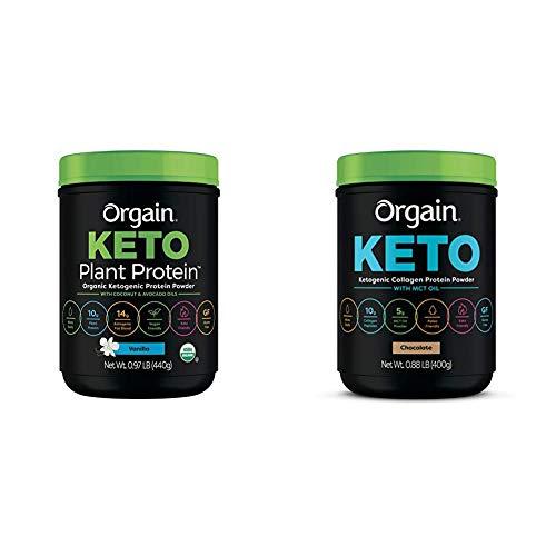 Orgain Keto Plant-Based Protein Powder, Vanilla - Keto Friendly, Organic, Vegan, Gluten Free, Organic Prebiotic Fiber, 0.97 Pound & Keto Collagen Protein Powder with MCT Oil, Chocolate - 0.88 Pound