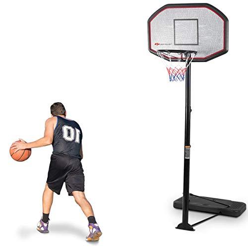 DREAMADE Basketballständer Schwarz, Basketballkorb mit Ständer Stabil, Basketballanlage Korbanlage Höhenverstellbar