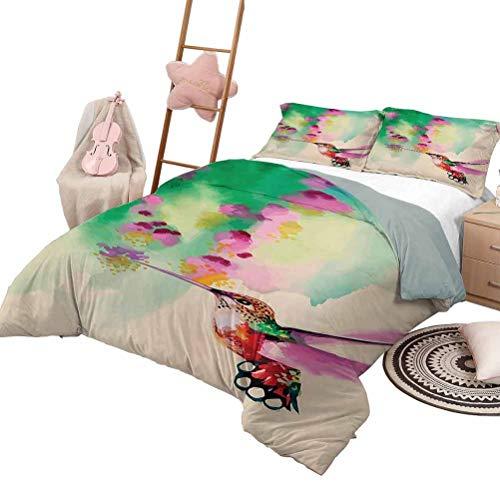 3-teiliges Bettwäsche-Set Kolibri Tagesdecke...