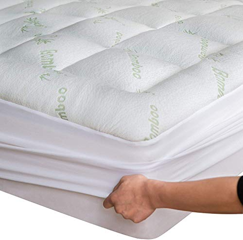 Niagara Sleep Solution Bamboo Mattress Topper Cover Queen With1 Bamboo Pillow Protector Cooling Pillow Top Mattress Pad Breathable Extra Plush Thick Extra Deep Fitted 20 Inches Rayon