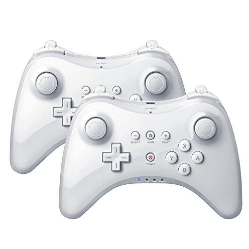 QUMOX 2 x Controlador Mando de Juego inalámbrico Bluetooth U Pro Controller Gamepad para Nintendo Wii U, Blanco