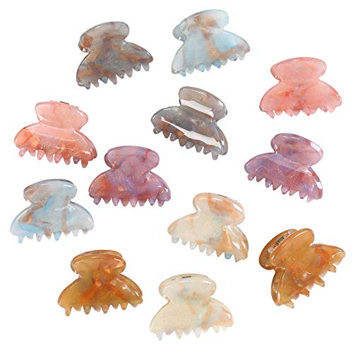 Claw Hair Clips Jaw Clamps - 12PCS Small Hair Claw Jaw Clamp for Thin Hair Styling Accessories Classic Hair Clamp for Women Girls (Sequins)