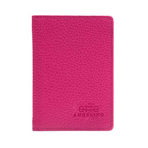 Otto Angelino Bifold Portafoglio in vera pelle - stile passaporto - ID, carte bancarie, contanti, blocco RFID - Unisex