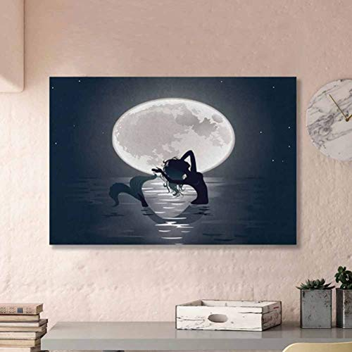 ParadiseDecor Underwater No Frame Mermaid Singing at Night Silhouette Full Moon Rays Mythical Ornament Art Print Gifts for mom Black Grey L36 x H24 Inch