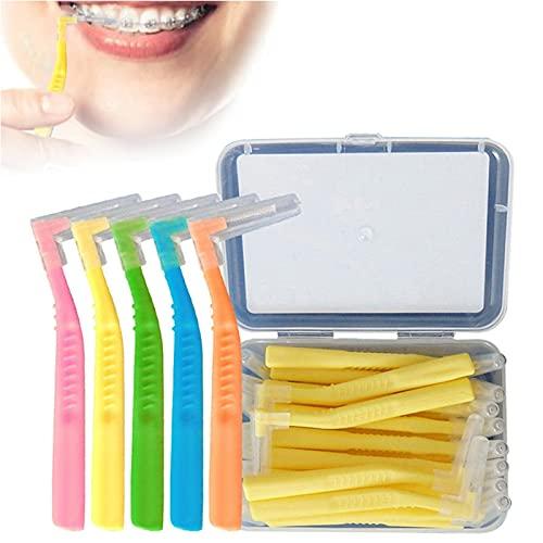 Slim Interspace - Cepillo de dientes para dientes, 20 cepillos interdentales de 0,6 a 1,5 mm en forma de L, limpiador interdental para aparatos ortopédicos, línea de encías e implantes (0,6 mm)