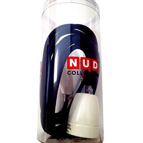 NUD collection suspension avec céramique blanche-culot, câble électrique textile bleu foncé, classic white tT399