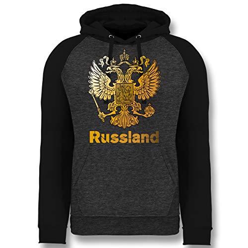 Länder - Russland Wappen Adler - M - Anthrazit meliert/Schwarz - Russia Trainingsanzug - JH009 - Baseball Hoodie