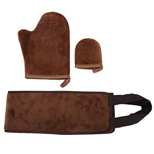 3pcs aplicador de bronceado en la espalda, crema bronceadora, loción, mousse, aplicación de aceite, guantes