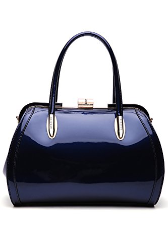 MKF Crossbody Satchel Shoulder Bags for Women - Patent PU Leather Handbag Purse - Marlene Lady Fashion Pocketbook Navy