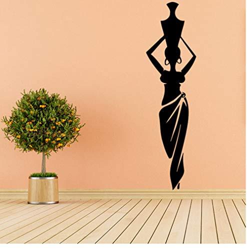 Zkpyy Afrikaanse vrouw meisjes vinyl wandsticker woonkamer Afrikaanse cultuur dansstijl kruik vaas wandtattoo wooncultuur patroon 20X73 cm