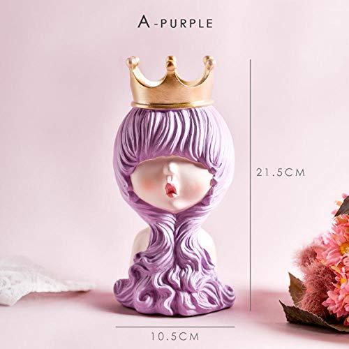 ahjs457 Decoración del hogar de la niña Estatua Rosada Resina Estatuilla de Escritorio Escultura de niña Linda Decoración de la habitación de niña Hermosa-A_Purple