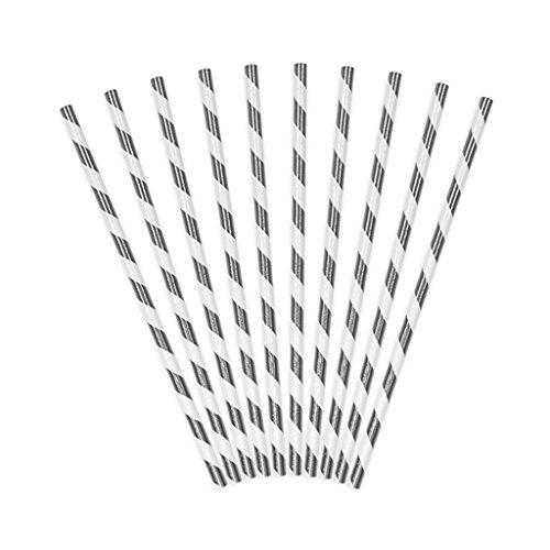 Papier Strohhalme, 19,5cm, weiß mit silber glänzenden Streifen, 10 Stück in einer Packung, SPP1M-018