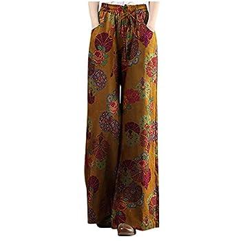 Wide Leg Pants,Misaky Women Plus Size Floral Print Tightness Cotton Linen Trousers Pants Summer Beach with Pockets
