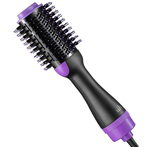 Eight Horses-T Hair Dryer Brush, One Step Hair Dryer & Volumizer, 3 in 1 Negative Ion Hot Air Brush, Best Gifts for The Family (Purple)