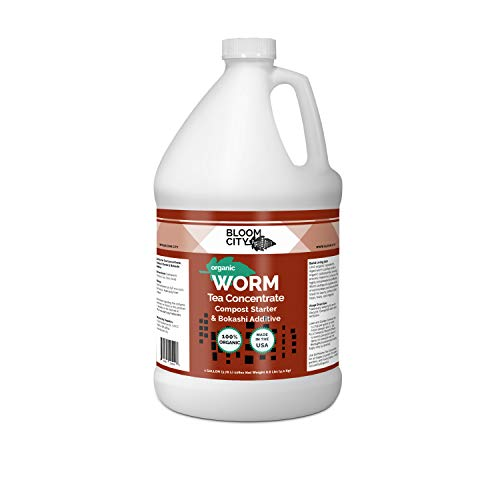 Organic Earthworm Tea Concentrate and Compost and Bokashi Booster by Bloom City, Gallon(128 oz)