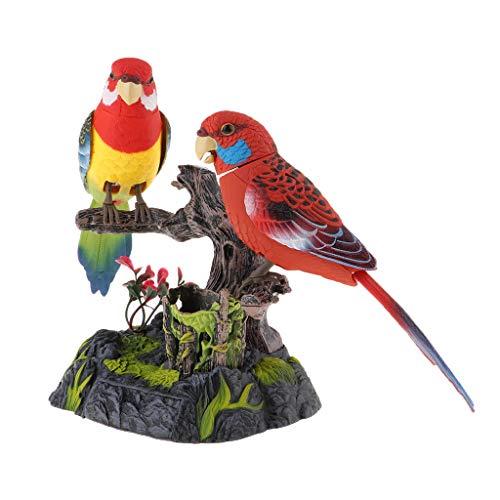 Baoblaze Bewegungsmelder Vogel, Singende und Zwitschernder Vogel Figur Batterie Betrieben Spielzeug Papagei Tisch Deko