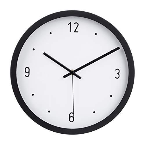 AmazonBasics - Reloj de pared, horas marcadas con punto, 30,5 cm, negro