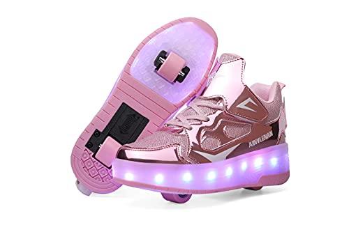 ZKHD Zapatillas de Deporte de Moda LED para Niños, Niñas, Niños, Ruedas Luminosas, Zapatos de Skate, Carga USB, Zapatillas de Gimnasia Multideporte para Correr Al Aire Libre,Pink-EU28