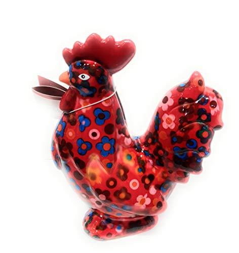 Spardose Apfel Pidou, groß, Motiv: Maurice, Huhn, rot, Blumenmotiv aus Keramik