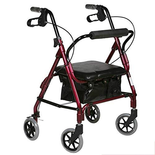 III- Superleichter Rollator Leichtgewichtler Aluminium Loop Bremse Folding Walker Erwachsener W/Höhenverstellbarer Sitz Mit Beinen Und Armen, Für Senioren