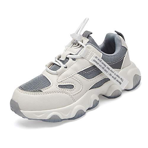 Shoful Chłopięce buty dziewczęce tenis bieganie trampki turystyczne buty dziecięce na zewnątrz modne trampki antypoślizgowe (big/małe/maluch dzieci), Szary - 057 G3 - 26 EU