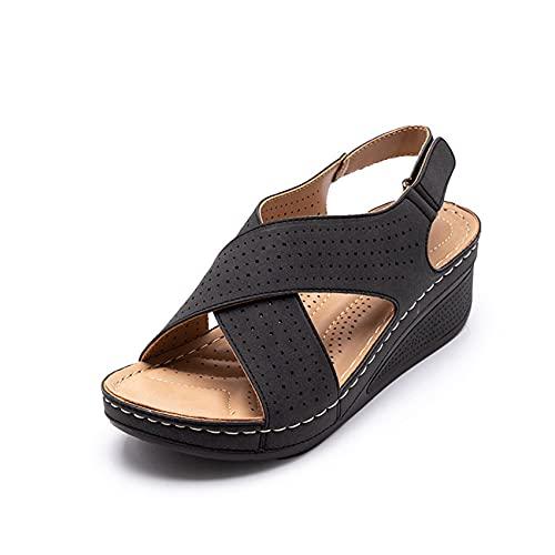 Sandalias de cuña para mujer, de verano, con suela gruesa, con dedos redondeados, con velcro de un solo color, para el tiempo libre, la playa, cómodas, antideslizantes., color Negro, talla 36 EU