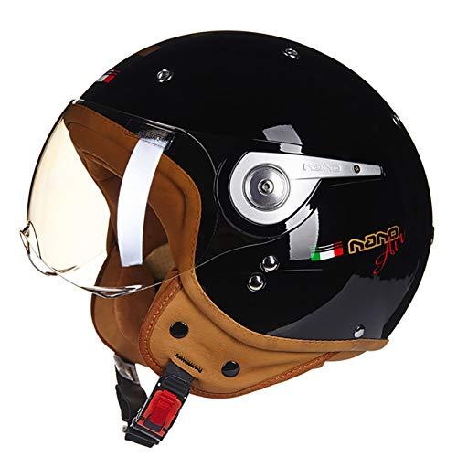Casco De Moto Retro Medio Cascos Con Gafas De Protección Casco Moto De Cara Abierta 4 Estaciones Motocicleta Scooter Ciclomotor Cascos Half-Helmet ECE Homologado G,M