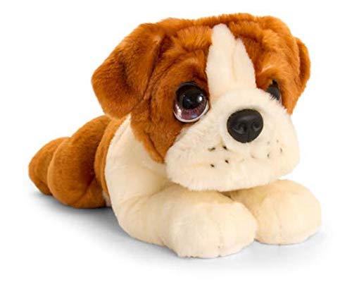 Lashuma Keel Toys Plüschtier Hund Bulldogge, Kuscheltier Welpe Liegend 32 cm, Stofftier Hündchen Braun Weiß
