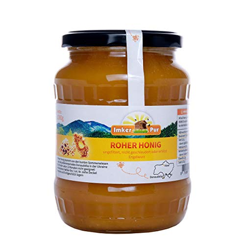 Le miel brut d'ImkerPur, non filtré, non centrifugé ou chauffé, contient du pollen de fleurs, de la cire d'abeille, de la propolis, du pain d'abeille et de la gelée royale, 1 kg