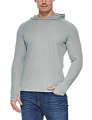 BALEAF Men's UPF 50+ Sun Protection Hoodie Long Sleeve SPF/UV Dri Fit Lightweight Fishing Workout Thumbholes Shirt Gray L