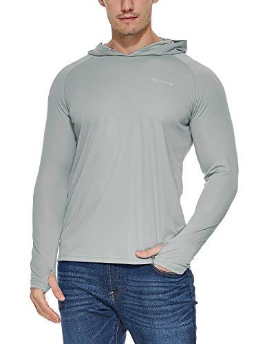 BALEAF Men's UPF 50+ Sun Protection Hoodie Long Sleeve SPF/UV Quick Dry Lightweight Fishing Workout Thumbholes Shirt Gray L