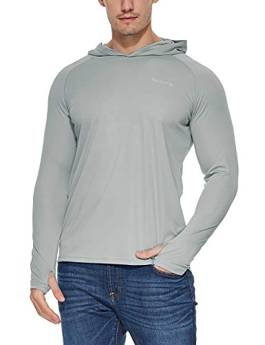 BALEAF Men's UPF 50+ Sun Protection Athletic Workout Long Sleeve Performance Hoodie T-Shirt Gray L