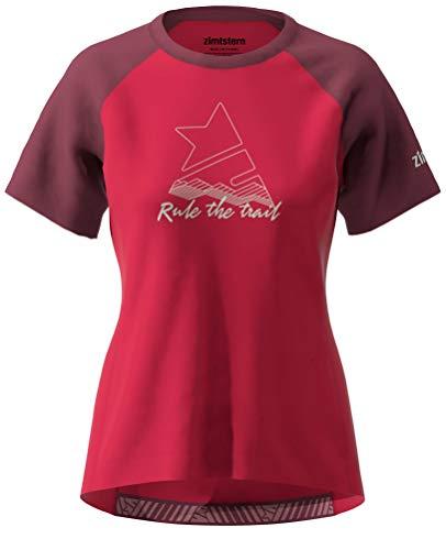 Zimtstern PureFlowz Shirt SS Wmns, Maglietta MTB Donna, Jester Red/Windsor Wine/Fog Green, XL
